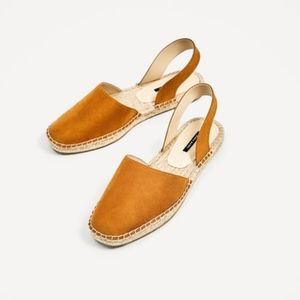 Zara Yellow Faux Leather Slingback Espadrilles